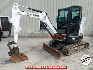 2016 Bobcat E26 Mini Excavator Erops Heat ac Long Arm Aux Hydraulics 922hrs
