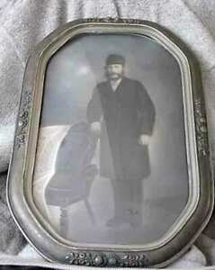 Early Ornate Silver Antique Oval Glass Dome Convex Wooden Frame W Old Picture