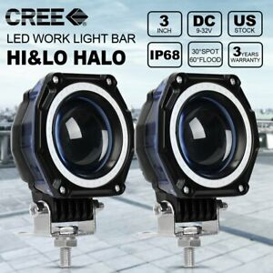 2x 3inch 35w Led Work Light Fog Driving Light Hi Lo Beam Blue Halo Offroad Truck