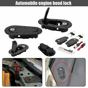 Racing Lock Plus Flush Hood Latch Pin Kit Carbon Fiber Jdm Style With 4 Key