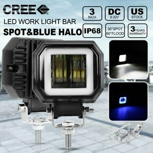 Pair Universal 3 Square Blue Led Work Light Drl Halo Angel Eyes Fog Lights Lamp