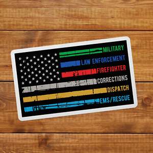 Thin Line Police Fire Military Dispatch Rescue American Flag Sticker Decal Usa
