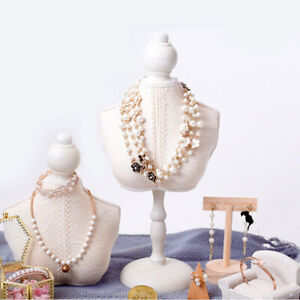 Wooden Lace Mannequin Bust Jewelry Necklace Pendant Model Display Stand Holder