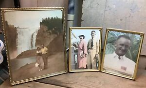 Lot Of 3 Vintage Deco Picture Frames Metal Brass Tone Table Top Travel Photos