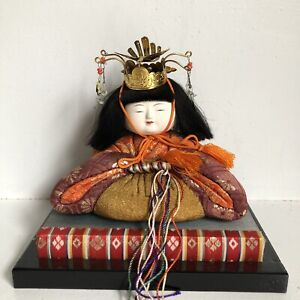 Hina Doll Kimekomi Empress Silk 5 Vtg Japanese Asian Wood Stand