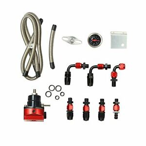 Adjustable Fuel Pressure Regulator Oil 100 Psi Gauge Kit An 6 Fitting End