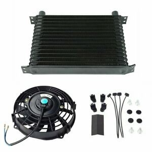 Universal 15 Row 10an Engine Transmission Oil Cooler 7 Electric Black Fan Kit
