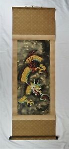 Vintage Chinese Silk Scroll Painting Dragon Ink Painting Feng Shui Signed