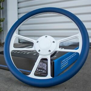 14 White Steering Wheel With Blue Wrap And Horn Button For Chevy Gm C10 Ford