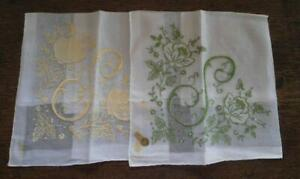 Vintage Lot Of 2 Monogram S Hankies Green Yellow Embroidery Nwt
