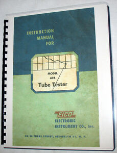 Manuals Tube Charts Eico 625 Tester Instuction Construction 1978 Supplements