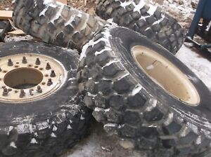 Michelin Xzl 395 85r20 Set Of 4 Tires And Rims 10 Lug Military