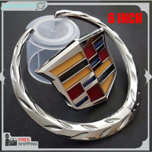 6 Inch Front Grille Grill Emblem Hood Symbol Ornament Replacement For Cadillac