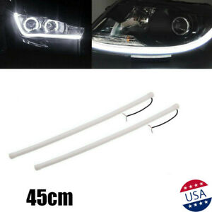 2x Universal 18 White Led Strip Daytime Running Light Headlight For Honda Audi
