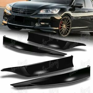 For 2013 2015 Honda Accord 4dr Hfp Black Front rear Bumper Spoiler Lip 4pcs