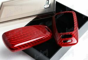 Real Red Carbon Fiber Remote Key Shell Cover Case For Audi A4 A5 S4 S5 Q5 Q7 Tt