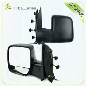Black Side Mirrors Pair Power Manual Fold For 2003 2014 Ford Econoline