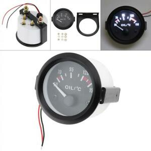Black 12v 2 52mm Digital Led Car Oil Temp Temperature Gauge Meter Kit Us Ship