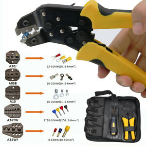 Insulated Cable Connectors Terminal Ratchet Crimping Tool Wire Crimper Pliers Us