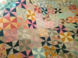 Vintage 1940 S Pinwheel Cotton Silk Quilt Top Hand Stitched 80 X 96 To Finish