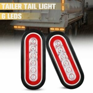 2x 6 Led Oval Amber Truck Trailer Stop Turn Tail Brake Sealed Lights W Grommet