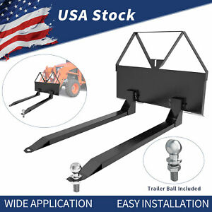 46 In Pallet Forks Attachment For Loaders Skid Steer Tractor Hitch Quick Attach