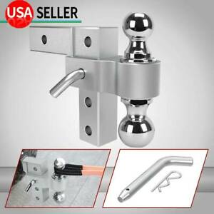 6061 Aluminum Dual Ball 6 Adjustable Mount Trailer Towing Hitch 2