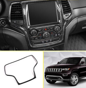 Carbon Fiber Dashboard Navigation Cover Trim For Jeep Grand Cherokee 2014 2018