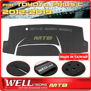 Black Dash Mat For Toyota 2012 2019 Prius C Wellvisors Dashboard Cover