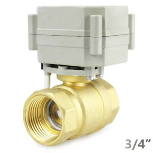 Brass 3 4 9v 12v To 24 Vac dc 5 wires Normally Closed Motorized Ball Valve