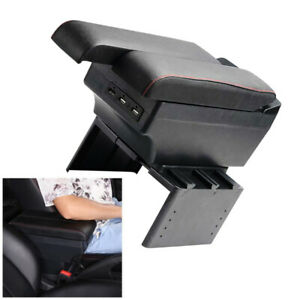 Pu Car Panel Dual Layer Central Armrest Box Storage 7 Usb Charge Black Universal