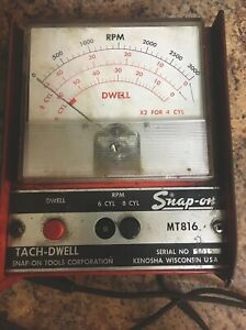 Vintage Snap On Tools No Mt816 Usa Auto Tach Dwell Instrument Works Great