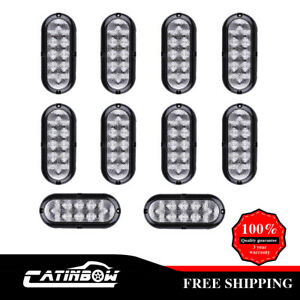 10 X 6 Strip Trunk Tail Brake Turn Signal Light 10 Led Red Clear Marker Flow