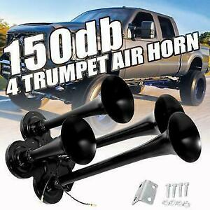 150db 4 Trumpet Train Air Horn Kit Super Loud Car Truck Totocycle Boat Suv Black