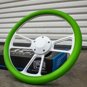14 White Steering Wheel With Green Wrap And Horn Button For Chevy Gm C10 Ford