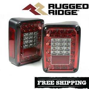 Rugged Ridge Smoked Led Tail Light Kit Fits 2007 2018 Jeep Wrangler Jk