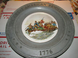 1973 Pewter Plate With Ceramic Inlay Of American Revolution 10 5