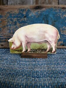 Antique Cardboard Farm Animal Wood Stand Yorkshire Pig Free Shipping