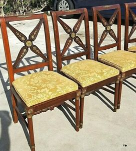 Set Of 4 Antique Hand Carved Mahogany And Brass Dining Chairs