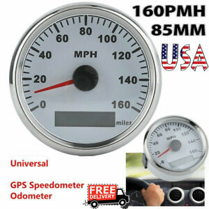 85mm White Digital Stainless Gps Speedometer 160mph Gauge For Car Truck Boat Ak