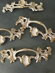 French Provincial Metal Drawer Pull Hardware New Old Stock Vintage Gold Cream