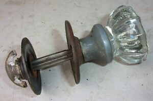 Antique Vintage 12 Point Glass Door Knob Closet Spindle Escutcheons Round Plates