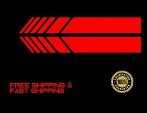 Stripe 2pc Rear View Mirror Body Stripe Car Decal Sticker Vinyl Red 5