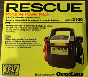 Quick Cable Rescue 3100 Portable Power Jumper Pack 12v Auto Emergency