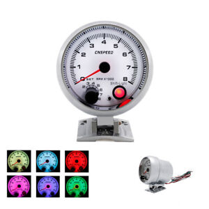 3 3 4 Universal Car 7 Colors Led 0 8000 Rpm Gauge Tachometer W Shift Light