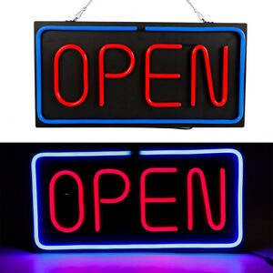 Neon Open Sign 24x12 Inch Led Light 30w Horizontal Decorate Wall Hanging Chain