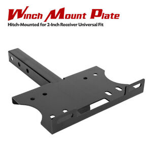 Offroad Steel Winch Mount Plate Black Trailer Hitch Waterproof For 4wd Boat