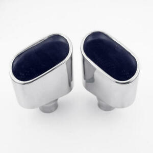 Pair Oval Out 1 7 8 1 875 In 304 Stainless Steel Exhaust Tips Slant Dual Wall