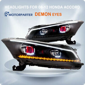 Demon Eyes Headlights Drl Projector For 2008 2012 Honda Accord Front Lamp