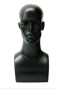 Plastic Black Adult Men s Mannequin Display Head With Facial Features And Ears